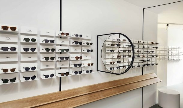 shelves for designer glasses in the new optician store Ace & Tate in Munich