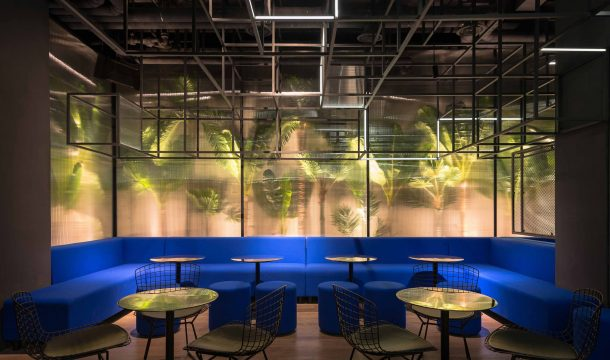 modern bar with black interior and extraordinary lighting in shanghai, called The Botanist 3