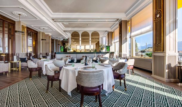 Restaurant and bar in the luxurious Fairmont Hotel in Montreux at the Lake Geneva