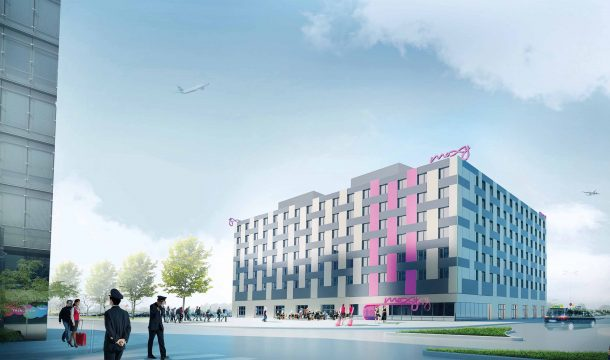 outside rendering of the hotel moxy in Vienna