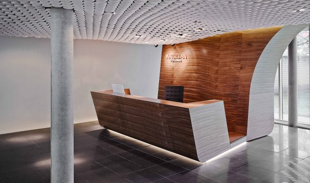 reception in the office innocean with extraordinary ceiling