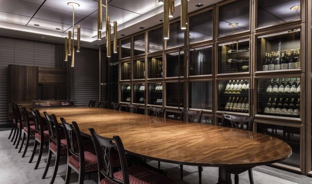 conference room and wine fridge cabinet in a sophisticated office building in london