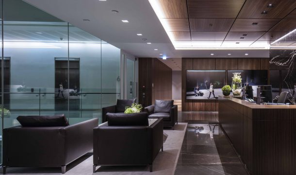 reception and waiting room in a sophisticated office building in london