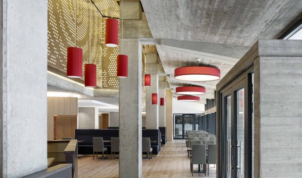 Restaurant Ratskeller in Pforzheim with concrete walls and ceilings