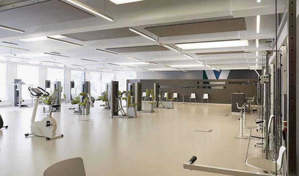 modern health and rehabilitation center with workout device