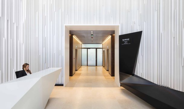 entry and reception in the office building Solo West in Frankfurt