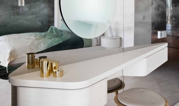 dressing table in a modern apartment with modern interior in almaty