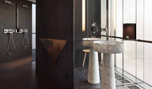 bathroom in a modern apartment with modern interior in almaty