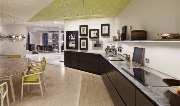 kitchen and dining room in a modern apartment in almaty
