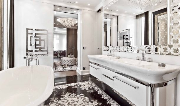 Master bathroom of a luxurious city apartment