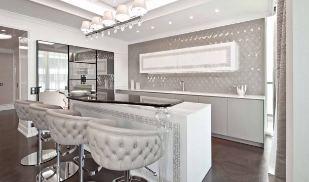 Kitchen and bar of a luxurious city apartment