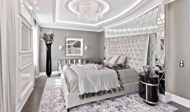 Master bedroom of a luxurious city apartment