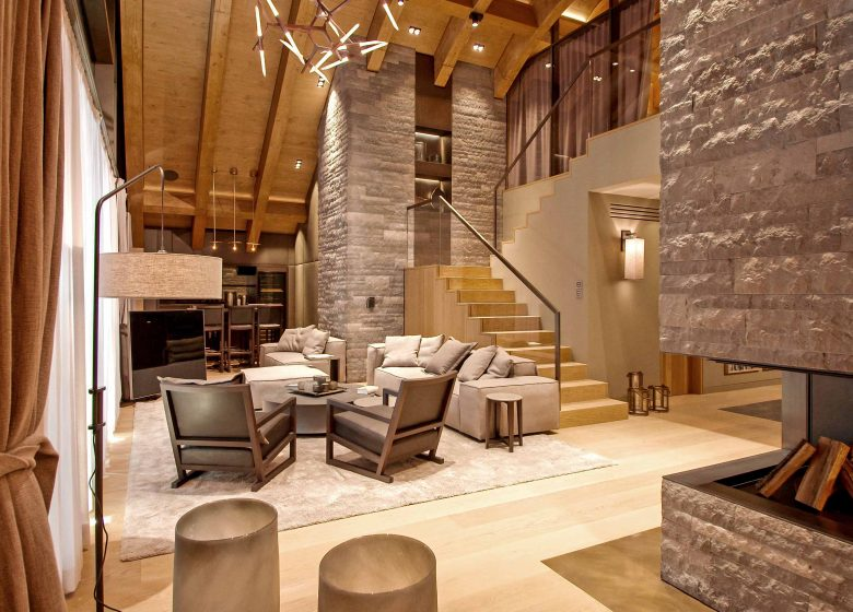 living room in a luxurious apartment loft in the Chedi Andermatt