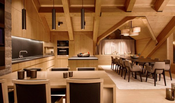 kitchen and dining room in a luxurious apartment in the Chedi Andermatt 2