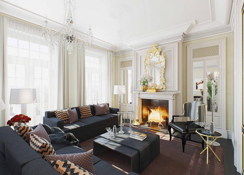 Living room in the Ralph Lauren Mansion in Moscow, interior rendering