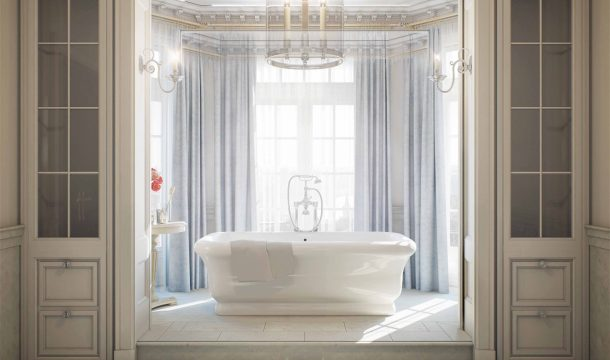 Bathroom in the Ralph Lauren Mansion in Moscow, interior rendering