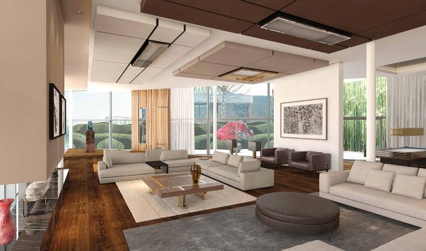 Interior rendering of a modern office