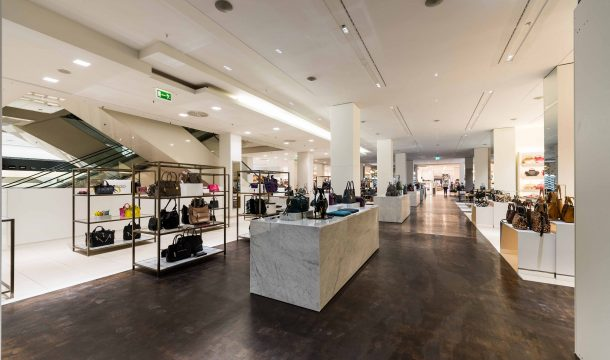 Accessories Hall at Alsterhaus with international luxury brands.