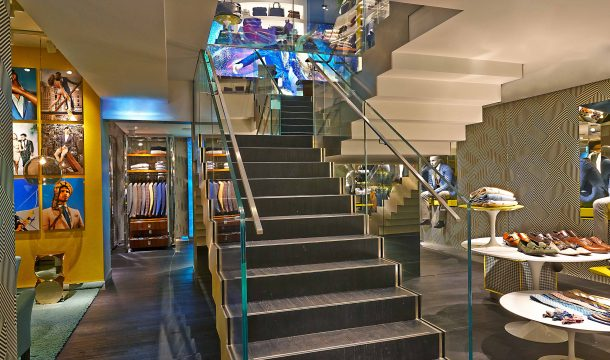 Staircase in the Suitsupply fashion store in Zurich