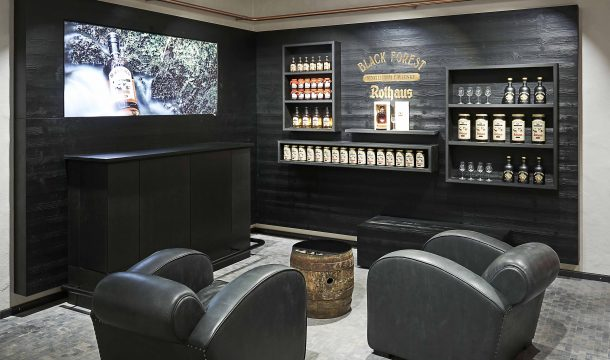 whiskey lounge for fan merchandising articles in traditional brewery