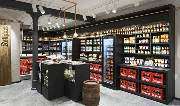 store for fan merchandising articles in traditional brewery