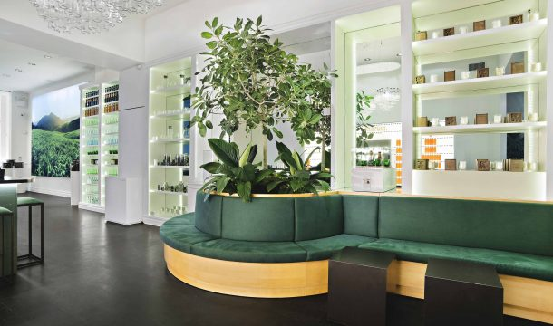 Seating area at Pure Leaf in Manhattan - realised by Ganter