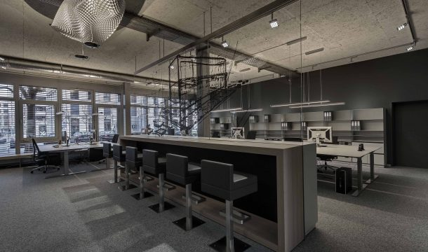 Office interior with meeting table of the architects Detail Design in Zurich