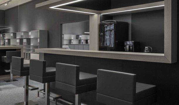 Office interior with kitchen and bar of the architects Detail Design in Zurich