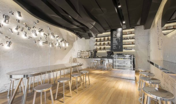 Fumi coffee bar in shanghai with wonderful ceiling in black