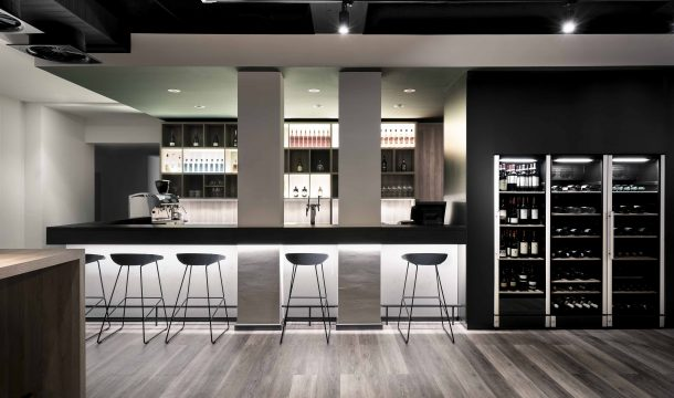 bar and wine fridge cabinet in the modern Nestor Hotel in Neckarsulm